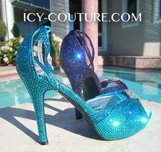 Who doesnt like Divine Sparkle on Sexy High Heeled Shoes! ICY COUTURE bedazzled pumps, or high heel sandals, will bring out the Royal Highness from within you! ;) Colors used here: Blue Zircon, Purple Velvet, size ss12 crystals. What Your Color? :)