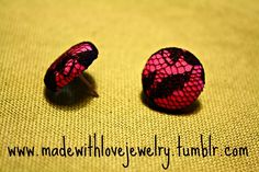 Hot Pink/Black Lace Stud Earrings  If you would like to see more of my pieces, please visit my Facebook Page for updates, pictures, giveaways and more!   www.facebook.com/pages/Made-With-Love-Handmade-Jewelry-by-Shana/129313577493     Follow my designs on Tumblr!:  www.madewithlovejewelry.tumblr.com  Or visit my Etsy Shop:   http://www.etsy.com/shop/Shanana