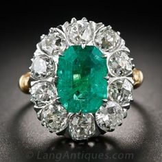 2.75 Carat Emerald and 2.25 Carat Diamond Ring