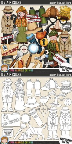 It's A Mystery - spy and detective digital scrapbook elements / cute detective kids clip art! (Clipart and line art bundle). Hand-drawn doodles and illustrations for digital scrapbooking, crafting and teaching resources from Kate Hadfield Designs. Watercolor Journal, Watercolor Illustration, Digital Stamps, Digital Scrapbooking, Detective Party, Fall Clip Art, Mystery, Atc Cards, Clips