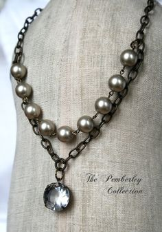 Pearl and Crystal Necklace Estate Style by PemberleyCollection