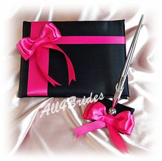 Wedding Guest Book Black and Fuchsia Pink wedding by All4Brides, $55.00