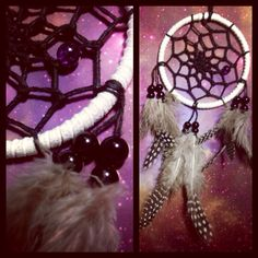 White dream catcher with spotted feathers, black web and glass bead finish 7cm diameter dreamcatcher hand made on Etsy, £5.50