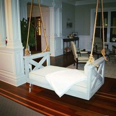 Lowcountry Swing Beds The Ravenel Daybed Porch Swing--but not inside. Crib Swing, Swing Beds, Backyard Swings, Porch Swings, Bed Swings, Pergola Swing, Home Swing, Porch Bed, Woods