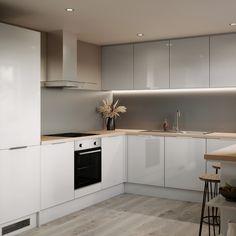 Grey Gloss Kitchen, Modern Kitchen Cupboards, Glossy Kitchen, Kitchen Worktop, Open Kitchen, Kitchen Room Design, Home Decor Kitchen, Interior Design Kitchen, Kitchen Ideas