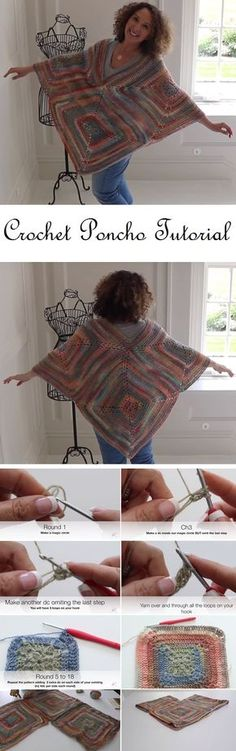 Poncho Tutorial by Anno's Crochet Designs - Design Peak Crochet Flower Patterns, Crochet Designs, Crochet Cardigan, Knit Crochet, Crochet Capas, Crochet Shawls And Wraps, Crochet World, Crochet Stitches Patterns, Coat Patterns