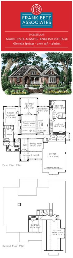 Glenella Springs: 2797 sqft, 4 bdrm, main-level-master English Cottage house plan design by Frank Betz Associates Inc.