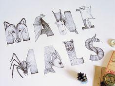 Maxim Magazine Hand Lettering Animals Manimals by Sasha Prood, via Behance