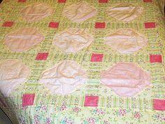 Pink & Green Pieced Flower Garden Snowball Baby Quilt by MagnoliasDownSouth, $39.50