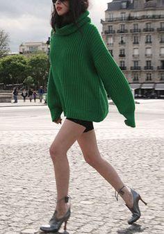 Green Plain Irregular High Neck Fashion Cotton Pullover Sweater