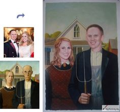 Custom oil portrait-Young husband and wife