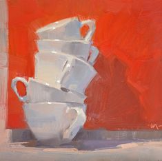 DPW Fine Art Friendly Auctions - Cups Askew by Carol Marine Fruit Painting, Gouache Painting, Painting & Drawing, Painting Still Life, Still Life Art, Cup Art, Guache, Fine Art Auctions, Small Paintings