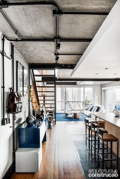 47 Stylish Loft Apartment Decorating Ideas 47 Stylish Loft Apartment Decorating Ideas - The amount of decoration you want in your apartment will be limited if you are renting. Rental apartments usually limits the decorating freedom of the. Loft Estilo Industrial, Industrial Interior Design, Industrial Apartment, Industrial House, Industrial Interiors, Kitchen Industrial, Industrial Bedroom, Vintage Industrial, Industrial Style