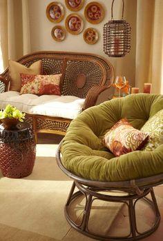 Azteca Settee & Papasan Rattan Chair | Pier1