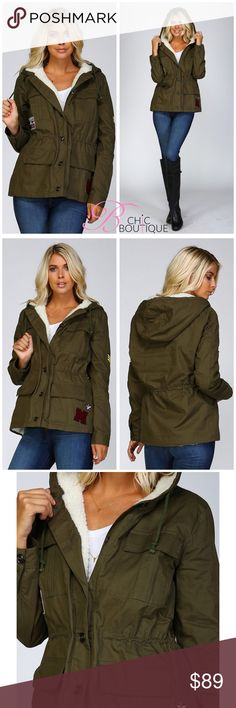 Olive Fur Lined Military Jacket Faux Shearling Fur lined hoodie jacket Military style Embroidery patch embellishment 4 front flap pockets with snap button closure 6 buttons for front closure Draw cord tie at waist with tunnel Long sleeve cuffs with button closure 100% cotton Fur lining is 100% polyester Model is 5` 10″ 34B-24-34 and wearing a size Small Olive utility bomber jacket Bchic Jackets & Coats