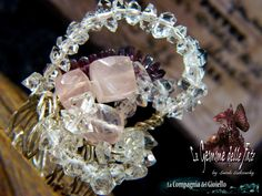 "(by Le Gemme delle Fate -Sarah Sudcowsky Jewelry Art) -  RING ""AURORA"" - Artwork Jewelry - ROSE QUARTZ gems, ALMANDINE GARNET gems, DIAMOND QUARTZ (Pakistan). - 925 SILVER WIRE. - Wire Wrapping."