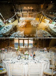 barn wedding decor white