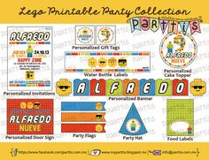 Colección Imprimible Fiesta Infantil Fiesta Lego personalizada PREMIUM :: PREMIUM Lego party printable collection by Parttis