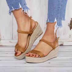 US$ 40.99 - Comfy Summer Buckle Sandals Espadrilles Wedge Sandals - www.joymanmall.com Cute Sandals, Sandals For Sale, Pretty Sandals, Sandals Outfit, Dress Shoes, Espadrilles, Strap Heels, Wedge Sandals, Ankle Strap