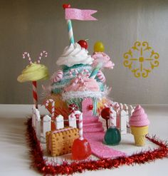"""Items similar to Cupcake Land Collection Sugar Plum Village 2011 Limited Edition """"Cupcake Castle"""" Original Design/Concept by 12 Legs Perfect Gift Idea on Etsy Giant Cupcakes, Cute Cupcakes, Baking Cupcakes, Cupcake Pictures, Cupcake Ideas, Candy House, Pink Christmas, Xmas, Savoury Cake"""