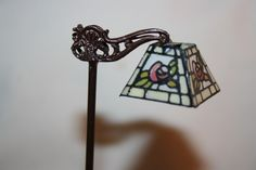 Miniature Dollhouse Kummerow Tiffany Rose Antique Floor Lamp Signed 1:12 NR #Kummerows