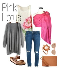 Pink Lotus by myheartcreative on Polyvore featuring Paige Denim, Birkenstock, FOSSIL, Vicky Davies, Illesteva and Pink Lotus