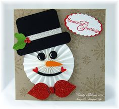 Festive Snowman using a Rosette for his face, and a little punch art! Stampin Up Christmas, Christmas Tag, Christmas Projects, Christmas Ornaments, Winter Cards, Holiday Cards, Christmas Crafts, Christmas Decorations, Punch Art Cards