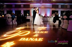 Stone Creek Banquet Hall @ Flatrock Michigan uplighting and custom image projection with their names.