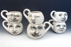 Moon Cups, two white porcelain mugs, hand drawn faces of the moon, Set of Two by:-tjcervantes