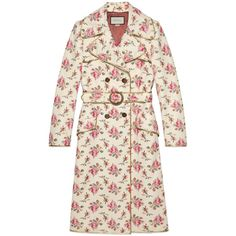 Gucci Roses Print Leather Trench Coat ($7,630) ❤ liked on Polyvore featuring outerwear, coats, coats & jackets, leather & casual jackets, ready-to-wear, women, buckle coats, gucci, trench coats and leather coat