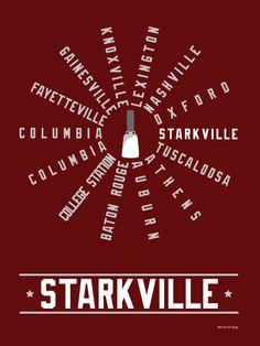 Starkville Mississippi SEC Conference Hood Print $20