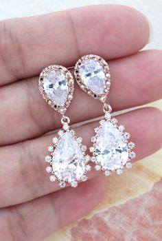 Deluxe Rose Gold Cubic Zirconia Teardrop Earrings - gifts for her, bridal gifts, pink rose gold weddings jewelry, bridesmaid earrings, www.colormemissy.com