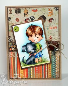 Sneek peek of the new December stamps being released at Kraftin' Kimmie Stamps this Sunday!  This is Lucas with Pup from the Best Fur-iends set!