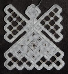 Hardanger Angel Ornament  Silver by twistedthreads on Etsy, $11.00