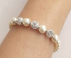 Bridesmaid bracelet Wedding Bracelet Pearl by nefertitijewelry2009, $25.50