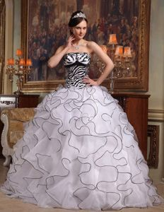 Customer Made White and Black Zebra Print Ruffled Dresses of 15