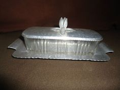 Vintage Rodney Kent Tulip Wrought Hammered Aluminum Glass Butterdish with Lid | eBay $24.99