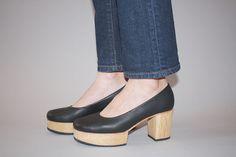 Morris Ballet Clog by A Détacher.  Matte leather ballet style clog with wood heel & front platform. $402