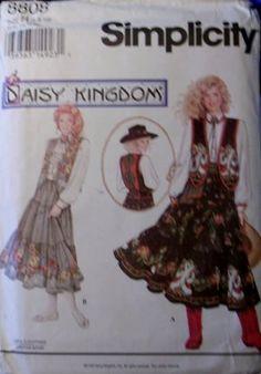 Simplicity 8808 Daisy Kingdom Pattern, Western Skirt, Vest, Sash, & Blouse, Sz 12 14 16  UNCUT