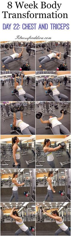 cool 8 Week Body Transformation: Day 22: chest and triceps....