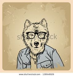 wolf hipster in a jacket on a vintage background by Yagello Oleksandra, via Shutterstock