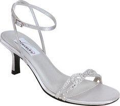 silver shoes, short-ish heel