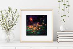 Mermaid Art Print/ Gothic Art Print/ Fantasy Art/ Giclée Print/ Mystery Art Print/ Water Lilies/ Teenage Art Print/ Surreal Art/ lowbrow art Oil Pastel Paintings, Kids Room Paint, Fairytale Art, Lowbrow Art, Mermaid Art, Gothic Art, Fish Art, Surreal Art, Painting For Kids