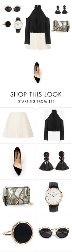 """Untitled #701"" by elenekhurtsilava ❤ liked on Polyvore featuring Valentino, Exclusive for Intermix, Zara, H&M, Tamara Mellon, Daniel Wellington, Ginette NY and Pop Fashionwear"