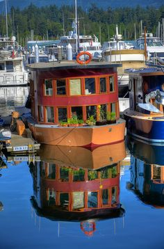 Houseboat At Coal Harbour, Vancouver, British Columbia, Canada