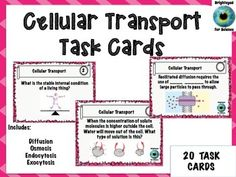 Cellular Transport Task CardsCellular Transport Task Cards includes: 20 task cards about Diffusion, Osmosis and active transport Student Answer Sheet Answer Key Feel free to check out my other items in my store!