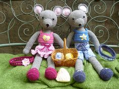 Maisie and Maurice Mouse Amigurumi Crochet Pattern by Janine Holmes