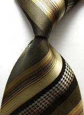 TS19 Gold Black Stripes New Stripe Silk WOVEN JACQUARD Men's Tie Necktie A#3