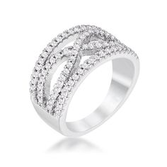 Damica Silvertone Classic Twist Wide CZ Ring | 1ct