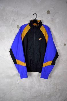 mens vintage, 1980's NIKE windbreaker track jacket, running, large, purple, gold, black, large: